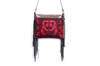 Gorgeous Cross Body With A Red Bird Embroidered Pattern, Adorned With Copper Leather Tassel