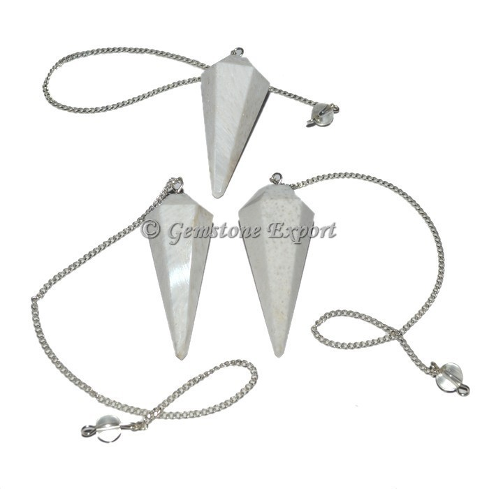 Gemstone Pendulums Scolecite 6 Faceted Pendulum
