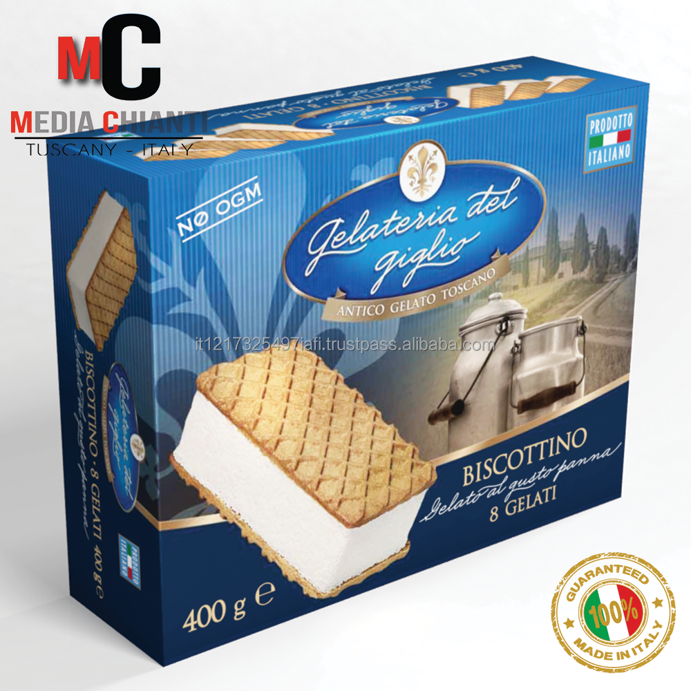 Quality Delicious Italian Non-GMO CREAM ICE CREAM SANDWICH Box 400 gr