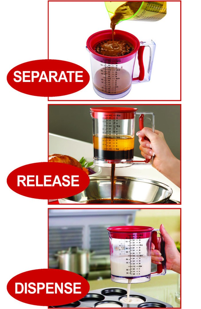 NBRSC 4 Cup PLASTIC Gravy Grease Separator and Batter Dispenser Easy Grease Separator Release AS SEEN ON TV PRODUCTS