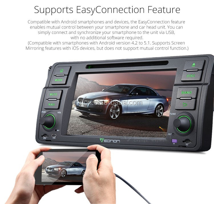 EONON GA6150 for BMW E46 Android 5.1.1 Lollipop Quad-Core 7 inch Multimedia Car DVD GPS with Mutual Control EasyConnection