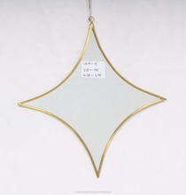 Star shaped Brass metal Wall Decor Hanging Mirror