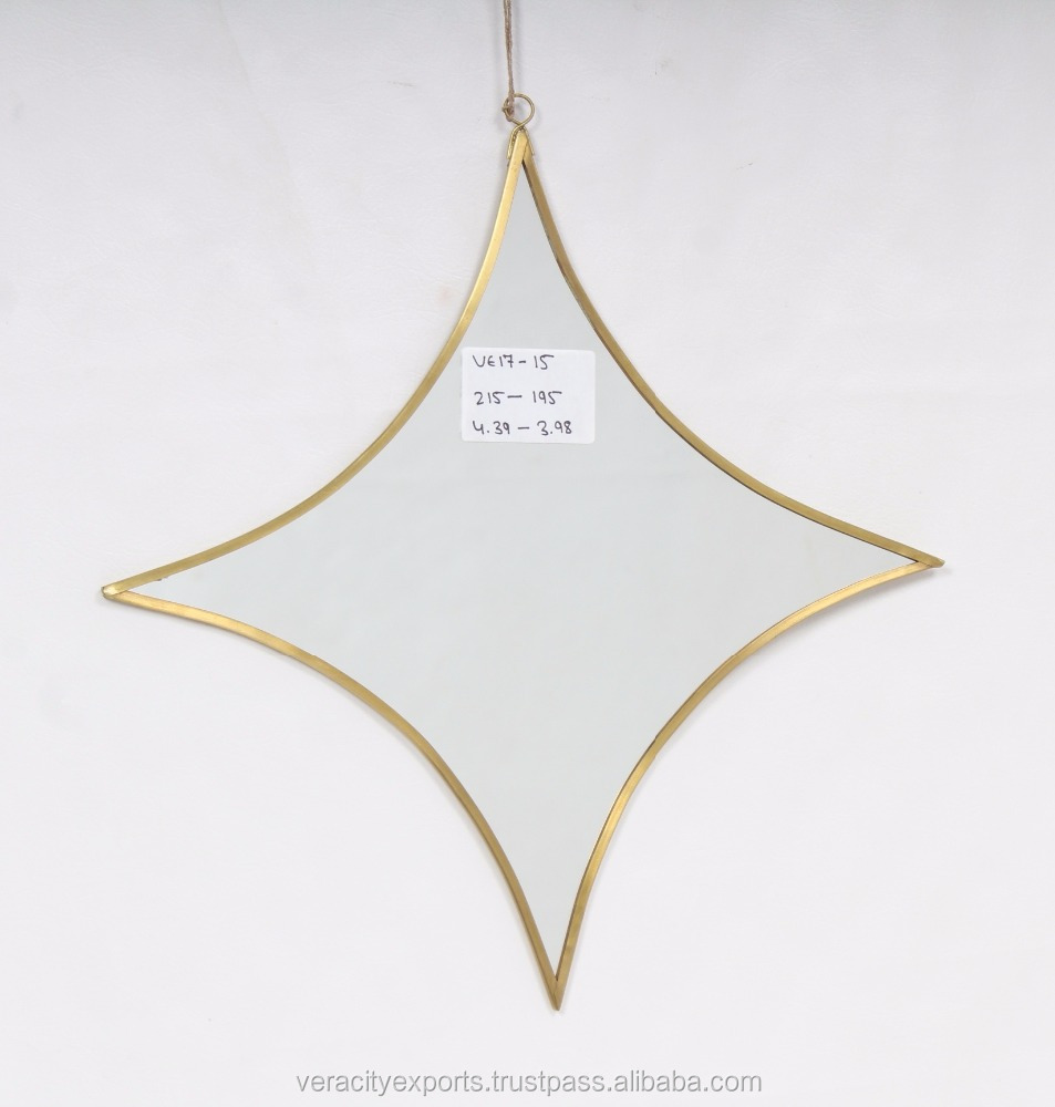 Star shaped Brass metal Wall Mirror
