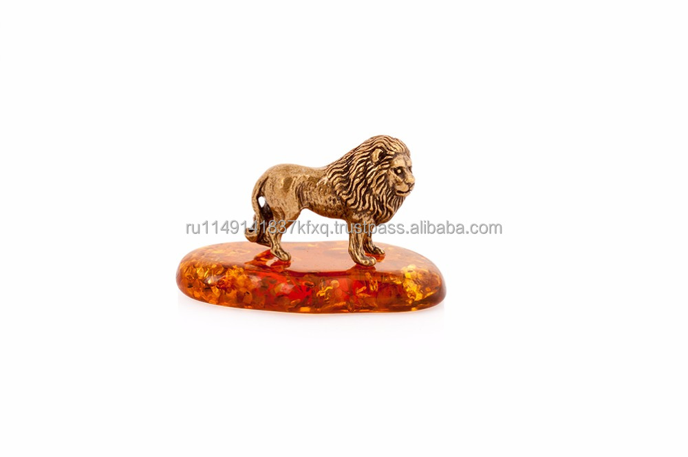 Brass figurine Lion, faux amber