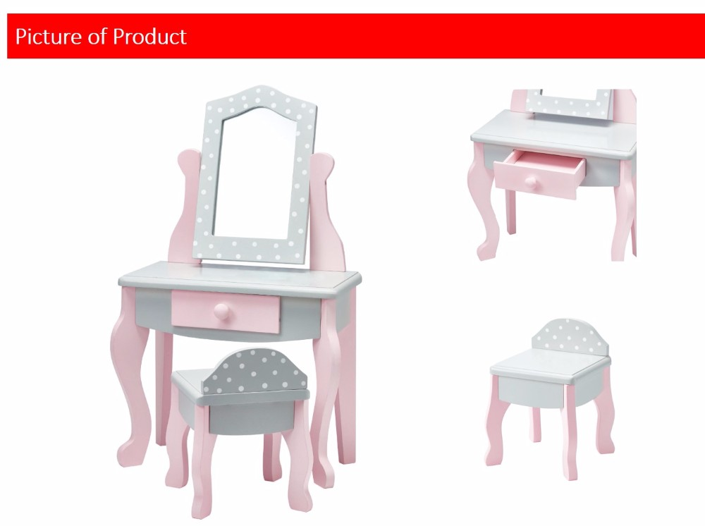 Olivia's Little World - Vanity Table and Chair Set (Grey Polka Dots) | 18 inch Doll Furniture