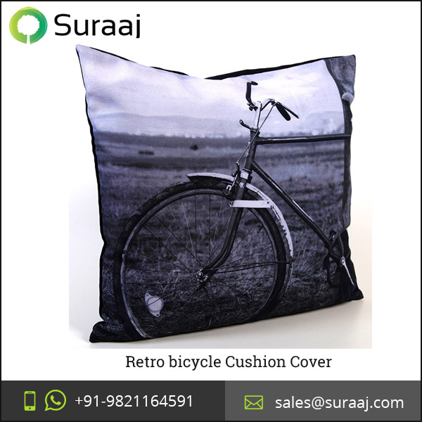 Classy Black and White Printed Retro bicycle Cushion Cover at Reasonable Price