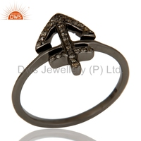 Pave Diamond Set Black Oxidized Sterling Silver Designer Ring Manufacturer