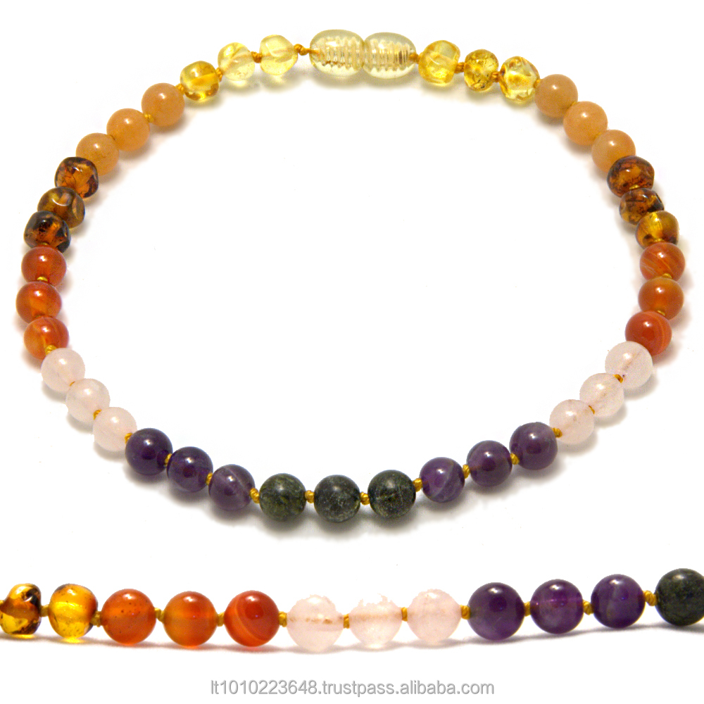 Top quality baby teething necklaces from natural Baltic amber and gemstones