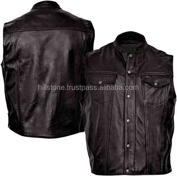 Biker denim heated vest custom motorcycle leather vest