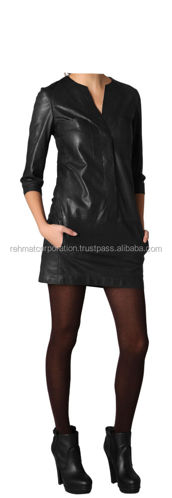 Mini Formal Shirt Style Leather Dress For Girls