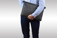Wool Felt and Leather laptop and document case / cover / sleeve
