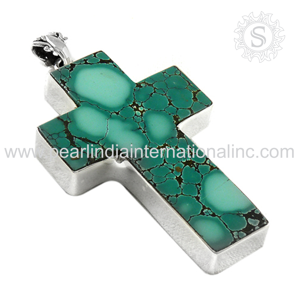 Gorgeous Cross Design Turquoise Natural Gemstone Pendant 925 Sterling Silver Jewelry Supplier Handmade Silver Jewellery India