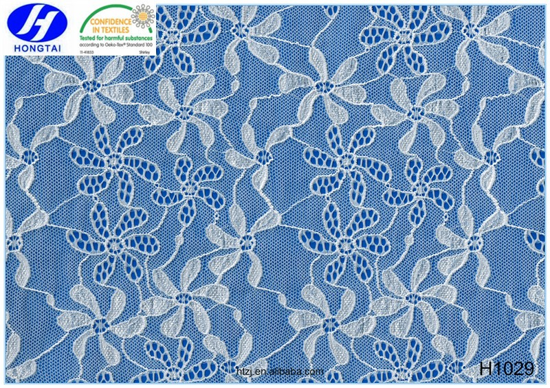 2016 fashion hongtai French Stretch Floral Bridal Lace Fabric 150cm Wide for Wedding Dress