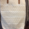 Dobbytex Best Selling Thai Cotton unique white lace tote bag with leather strap