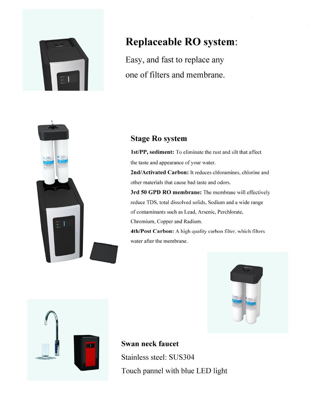 RO Water purifier with replaceable RO system filters