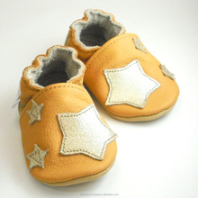 SALE soft sole baby shoes Leather chaussons Krabbelschuhe stars golden yellow 0 6 m ebooba
