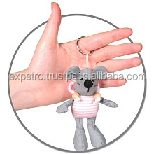 Antistress Soft Toys - Key chain - light reflecting mouse with pink sweatshirt (9.5cm)
