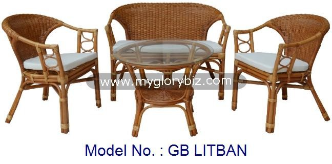 Country Style Indoor Rattan Furniture With Antique Look And High Quality Living Room Set For Household Furnishing