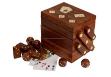 Beautiful Gift Hand Crafted Wooden Dominoes/Dice Set Box with Brass/Wooden Box/Hot Look Wooden Jewellery Box 2015