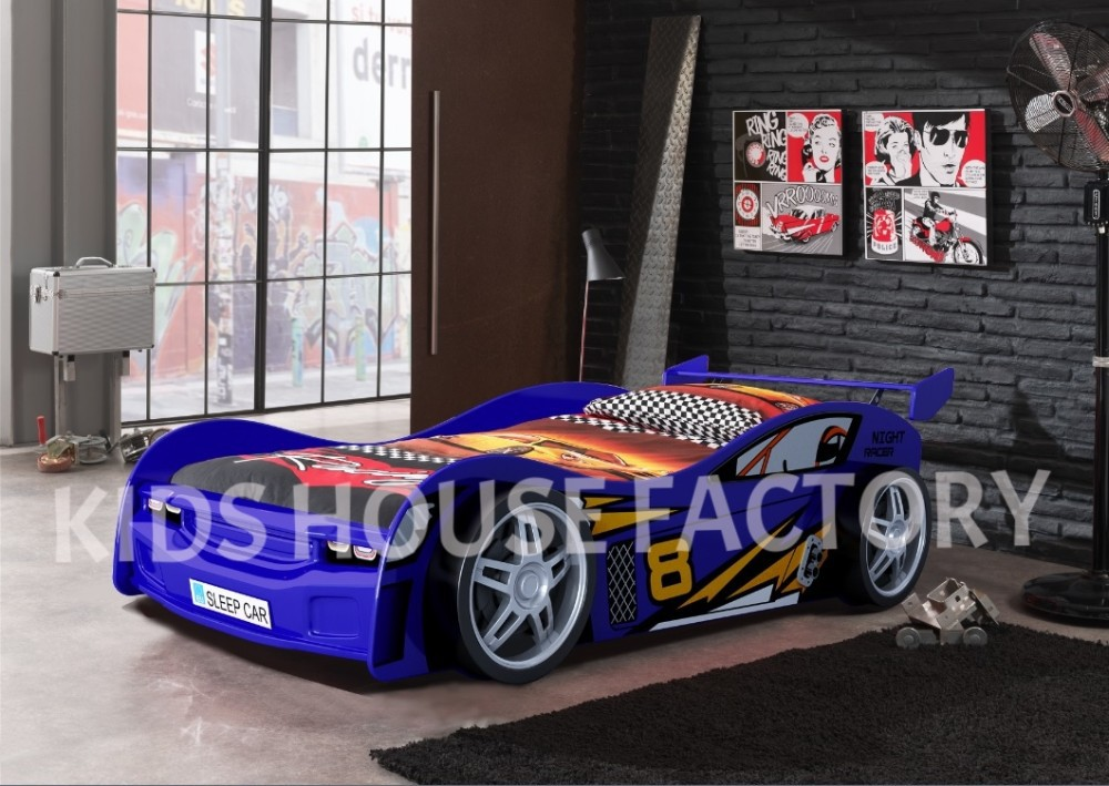 Blue Night Racer Car Bed, Blue Racing Car Bed, MDF Car Bed