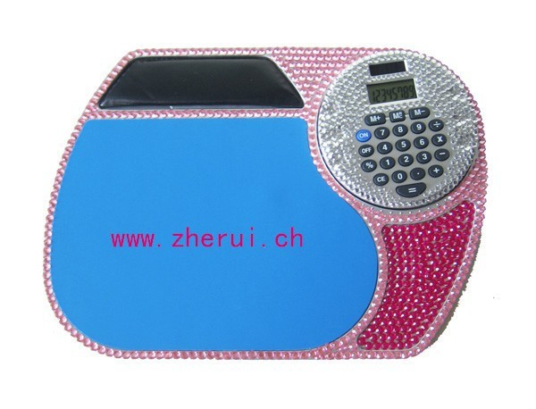 Many designs crystal promotional mouse pad with calculator