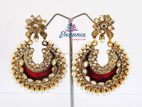 Peacock style earrings - Kundan meena earrings - imitation earrings jewellery
