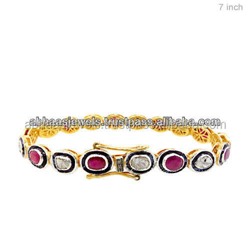 925 Sterling Silver Ruby Link Bracelet Hand Rose Cut Diamond Gift Bracelet Fashion Jewelry Hew York