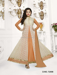 Sandybrown color with white chiken work long flip over designer Long Semi Stitch Anarkali Salwar Kameez
