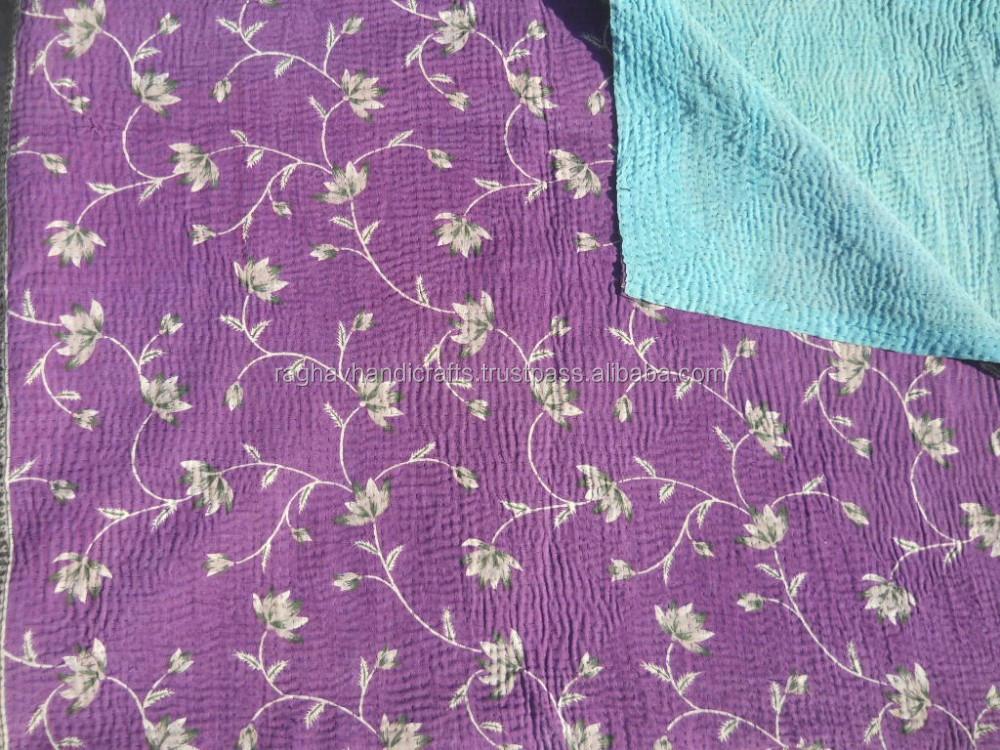 kantha quilt indische alte vintage handarbeit patchwork decke baumwolle werfen schlafdecke. Black Bedroom Furniture Sets. Home Design Ideas