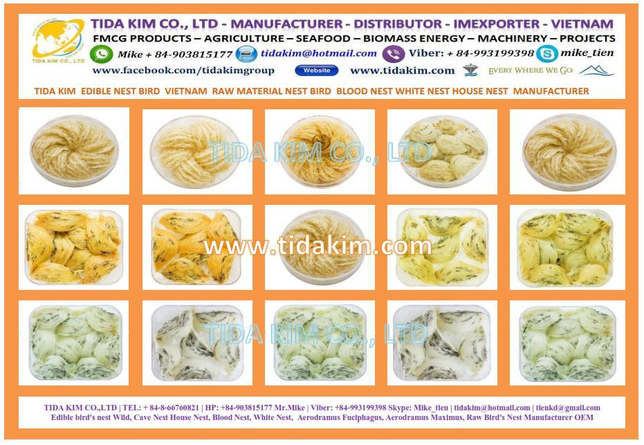 UNPROCESSED RAW PURE BIRD NEST - YANWO - TIDA KIM -WHITE BIRD NEST TRIANGLE SHAPE - RAW EDIBLE SWIFLLET BIRD NEST