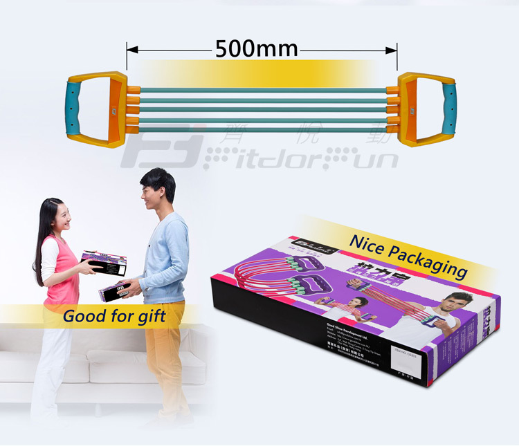 Feva Expander-Factory Direct Sale Fitness Bands Latex Resistance Elastic Tube Chest Expander Kit
