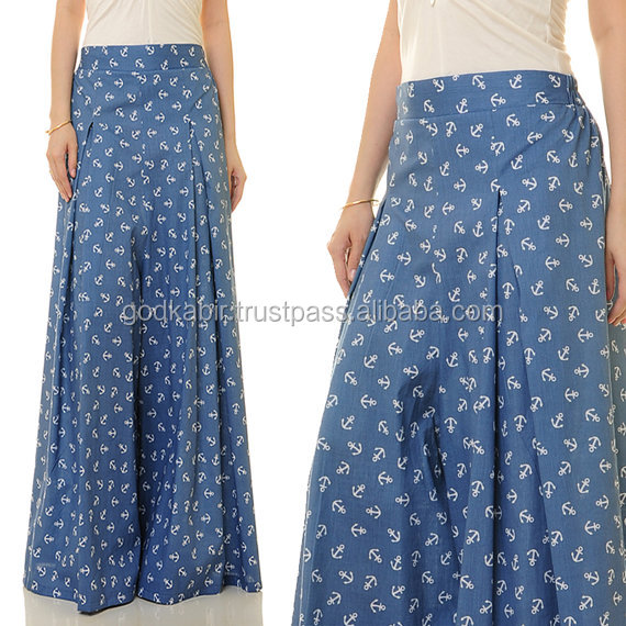 Recently Made Royal Use Multi design And high quality Made Anchor Print Cotton Denim Palazzo Flared Wide-Leg Long Culottes Pants
