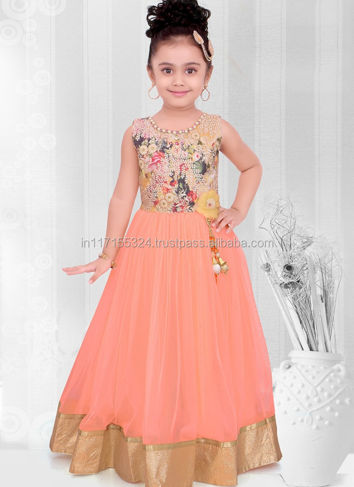 Latest kids wear sleeveless 2016 anarkali frocks - New full frock design - Kids frocks design india 4tgb