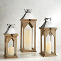 Wooden Lantern For Garden | Wood Hanging Lantern | Wooden Lantern With Metal Top Set Of 3
