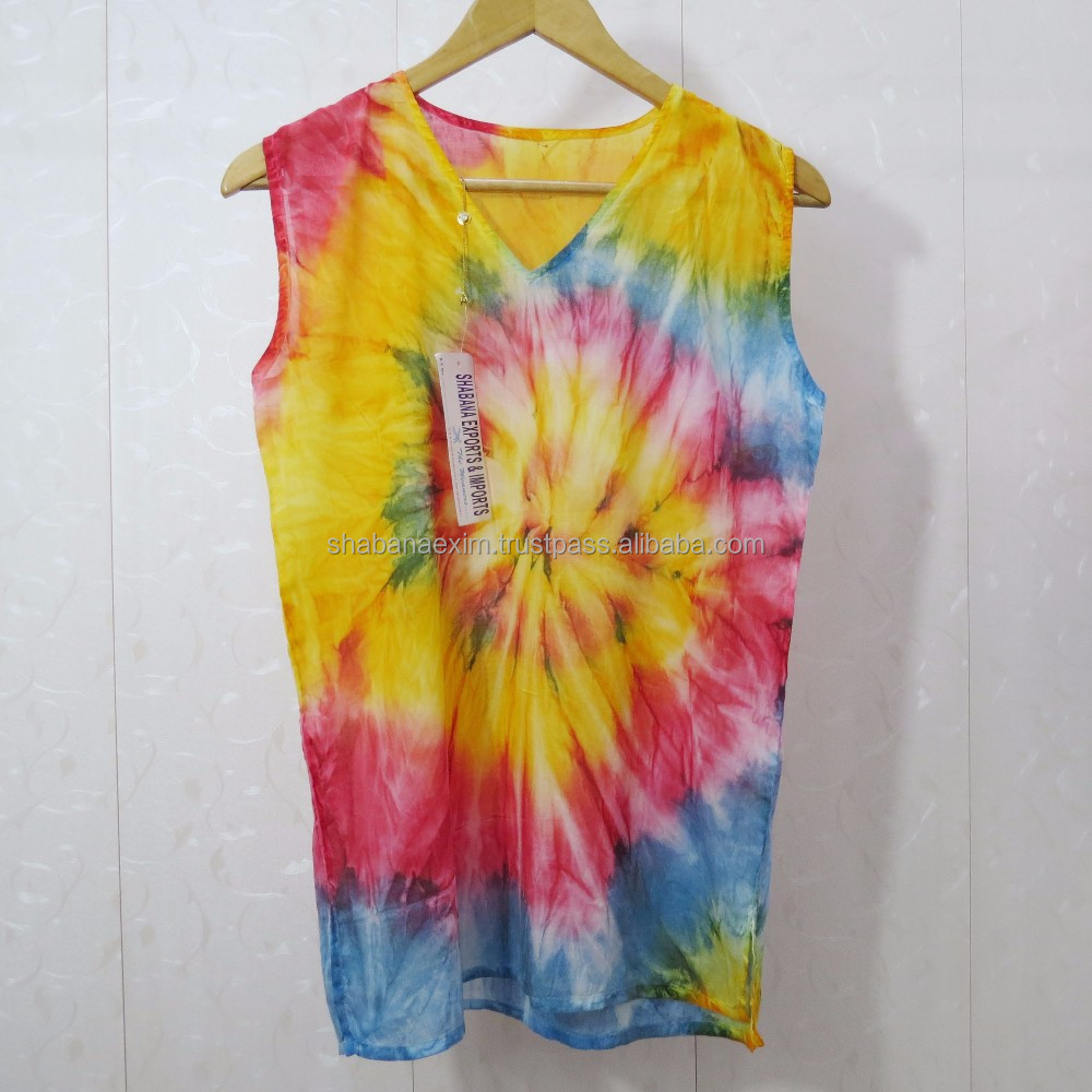 Women tops and blouses Tie dye sleeveless top batik tunics