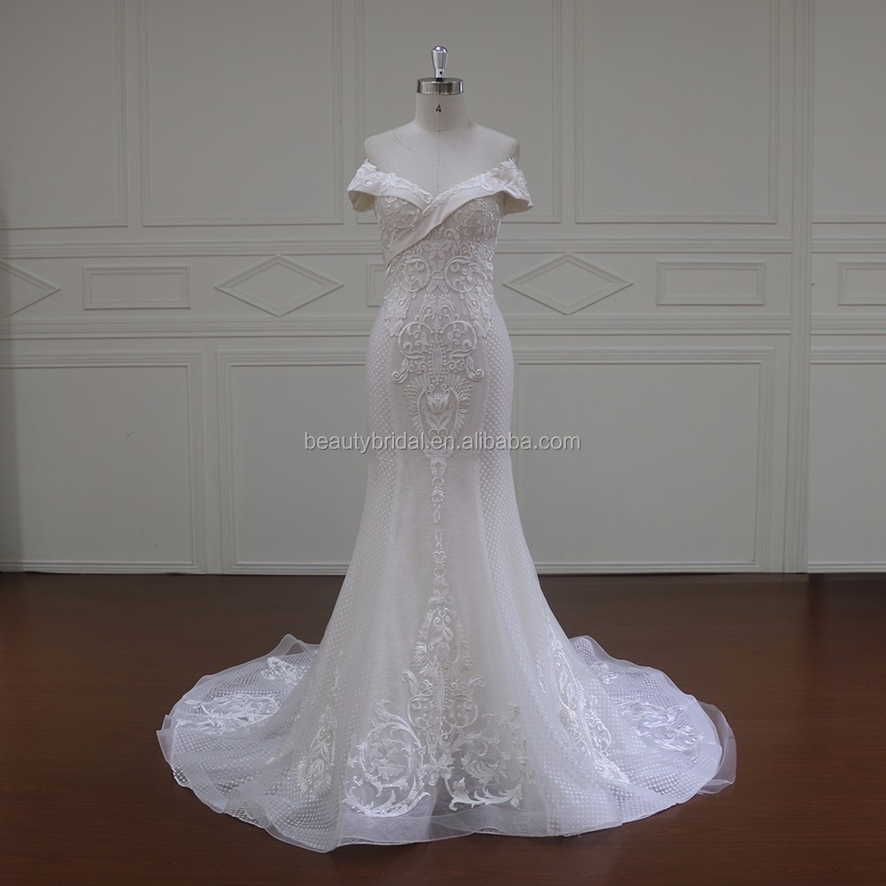 wholesale latest gown design pictures of mermaid tial off shoulder neckline see through wedding dress