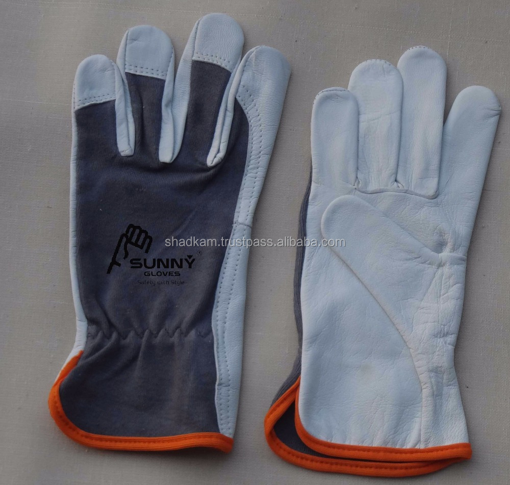 Goatskin Leather Work Assembly Gloves - Variety of Styles & Features