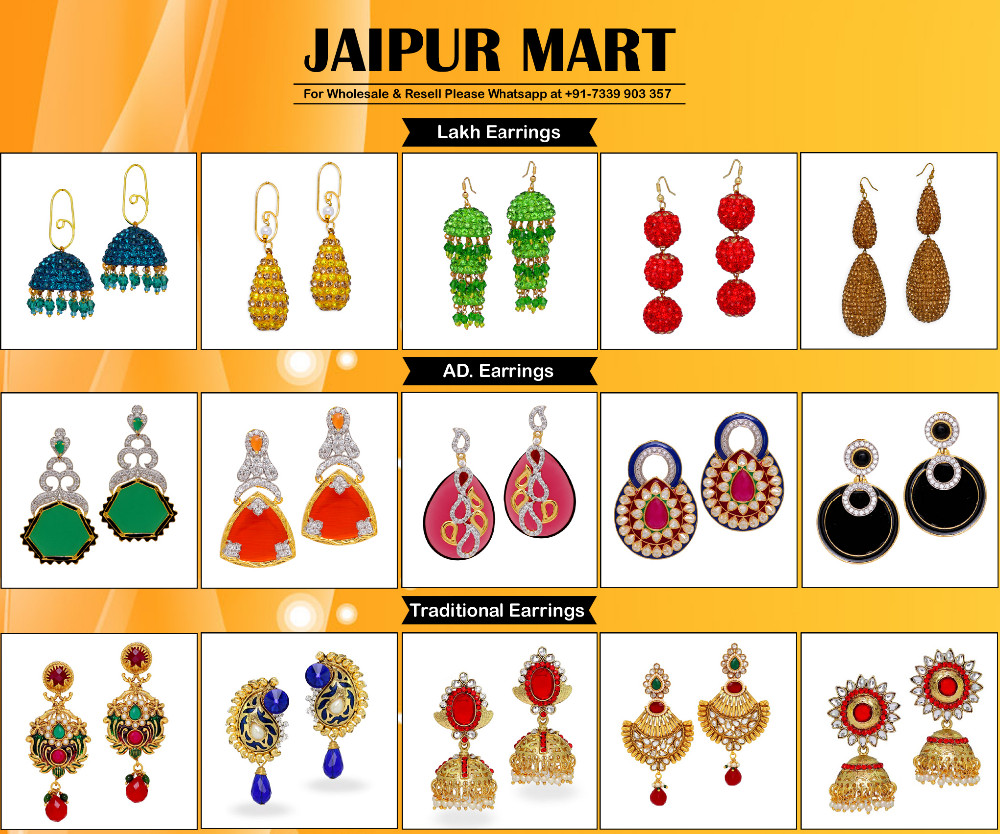 Jaipur Mart Wholesale Oxidised Earrings Silver Plated Jewelry Indian Traditional Design Fashion Drop Earring for Women & Girls