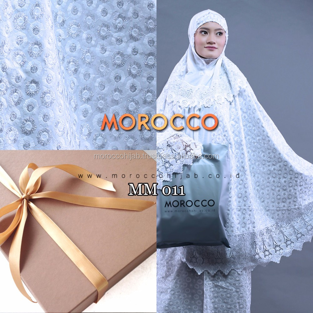 Mukena Telekung Prayer Clothing HQ Cotton White Morocco Hijab Indonesia
