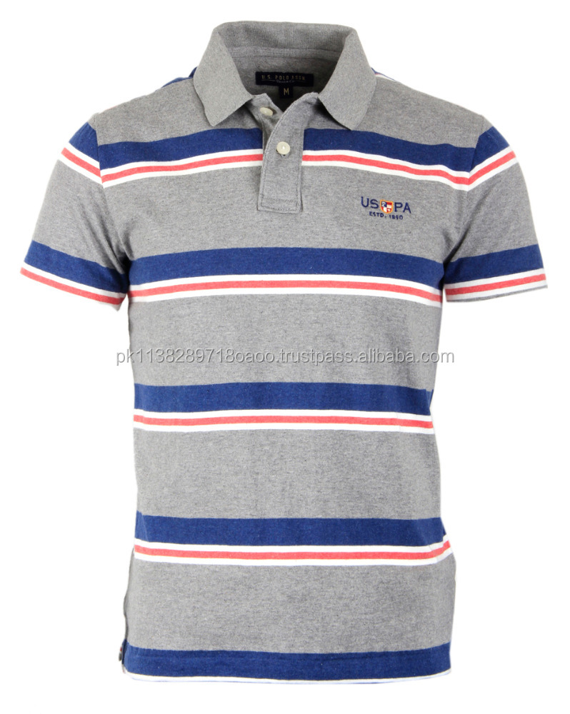 Quality Things New Launch men's Striped Polo T shirt 2017