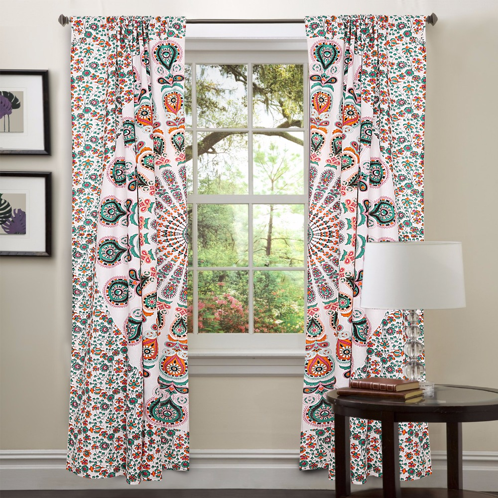 Traditional Curtains Indian Mandala Curtains Manufacturer Tapestry Drapes, Window Treatment Bohemian Set Mandala Design Curtains
