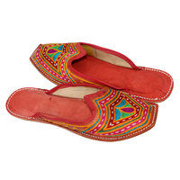 INDIAN HANDMADE TRADITIONAL WOMEN LEATHER MOJARI/SLEPPER/SHOES