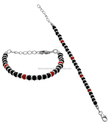 STERLING SILVER KIDS ANKLETS WITH BLACK BEADS