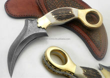 Custom Manufactured Beautiful Damascus Steel Karambit Hunting Knife