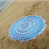 "72"" Ombre Roundie Tapestry Hippie Yoga Mat Tapestries Mandala Beach Throw Blanket Round With Tassels Wholesale Supplier Tabl"