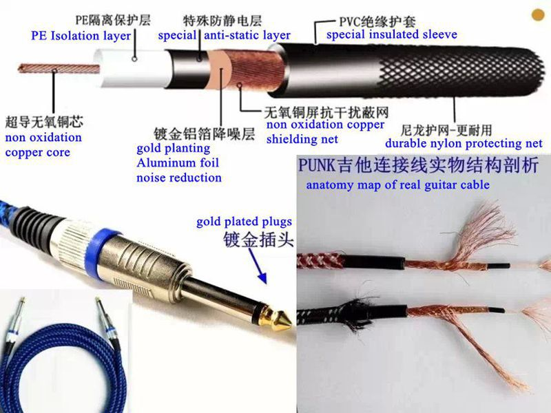 Professional instrument cables PVC And Tweed Guitar Cable Electric Guitar Cable