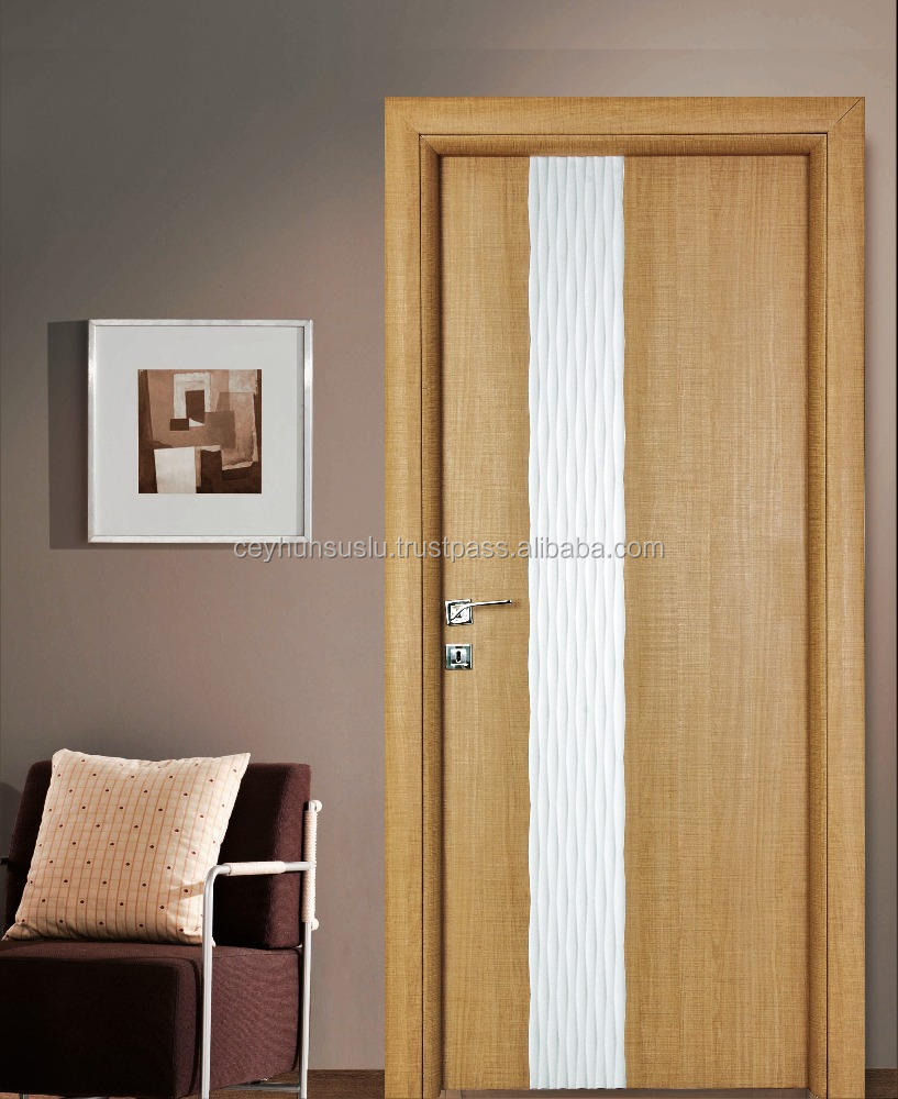 Saw Blade Structured Laminate New Design Interior Door with White Lacquered Decorative Wavy Panel