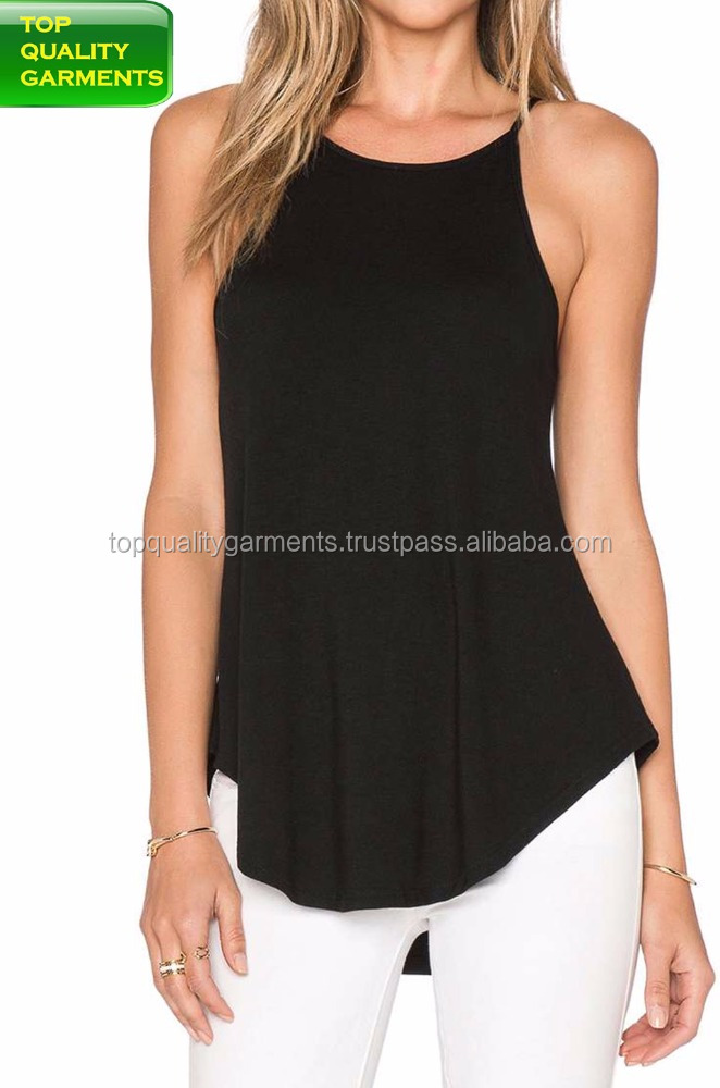 Comfortable black blouse top sleeveless anti-wrinkle casual round neck women's wear long waist length ODM OEM#1130201215