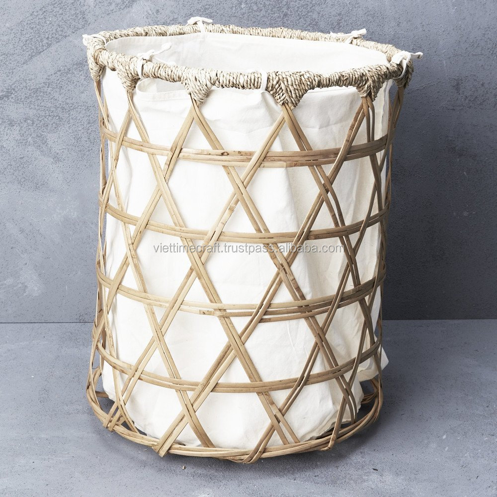 Bamboo laundry basket with linen lining