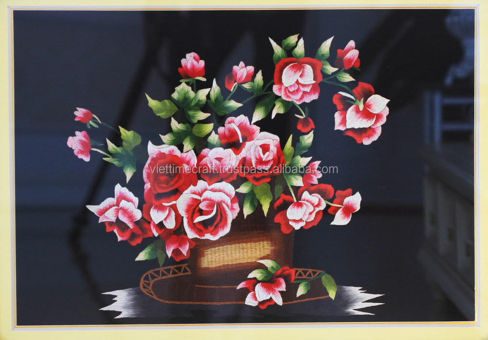 Embroidery flower paintings from Vietnam, rose wall paintings, handmade in Vietnam
